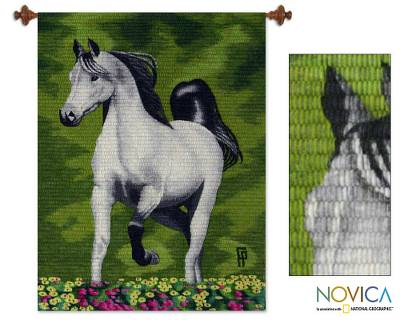 Wool tapestry, 'Proud White Horse' - Unique Horse Tapestry Wall Art