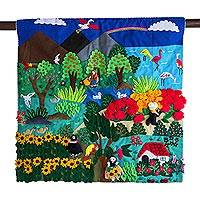 Applique wall hanging, 'Flamingos and Flowers' - Fair Trade Nature Folk Art Applique Wall Hanging from Peru