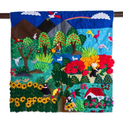 Applique wall hanging, 'Flamingos and Flowers' - Fair Trade Nature Folk Art Applique Wall Hanging from Peru