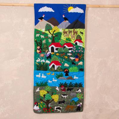 Applique wall hanging, 'Andean Landscape' - Andean Landscape Handmade Applique Folk Art Wall Hanging