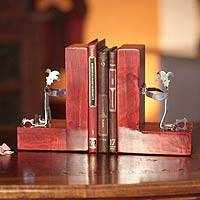 Recycled aluminum bookends, 'Red Harlequin' - Unique Recycled Aluminum Sculpture Bookends from Peru