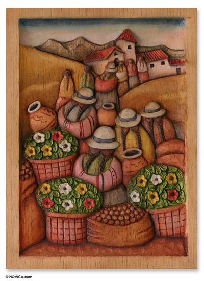 Cedar wood relief panel andean flower market novica