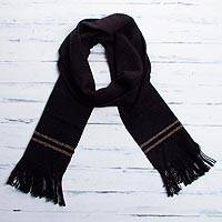 Men's alpaca blend scarf, 'Midnight Traces' - Alpaca Wool Black Scarf
