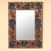 Leather mirror, 'Midnight Vineyard' - Leather mirror