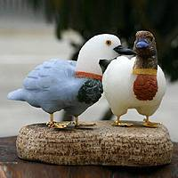 Onyx and aragonite sculpture, 'Wild Ducks' - Hand Carved Onyx Gemstone Sculpture