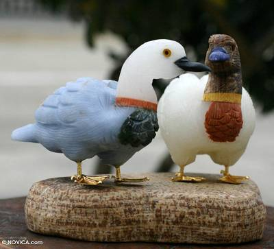 Onyx and aragonite sculpture, 'Wild Ducks' - Hand Carved Onyx Gemstone Sculpture