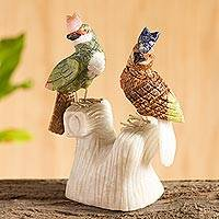 Onyx and aragonite sculpture, 'Kingfisher Couple' - Collectible Gemstone Bird Sculpture