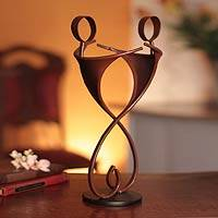 Iron statuette, 'Friends Forever in Brown' - Unique Heart Shaped Metal Relationship Sculpture