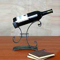 Iron wine bottle holder, 'Close to You' - Iron Wine Bottle Holder