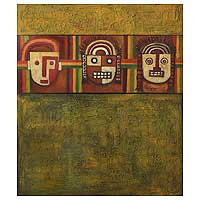 'Moche Masks' (triptych, 2003) - Expressionist Painting (Triptych, 2003)