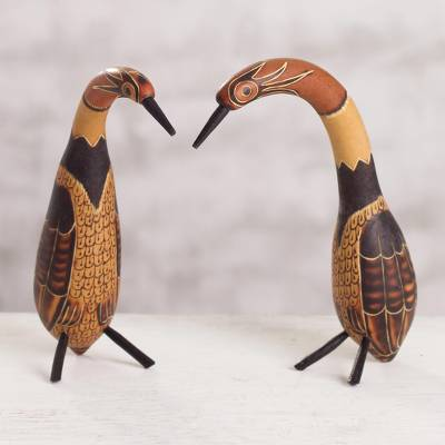 Mate gourd sculptures, 'Aviary Inspiration' (pair) - Mate gourd sculptures