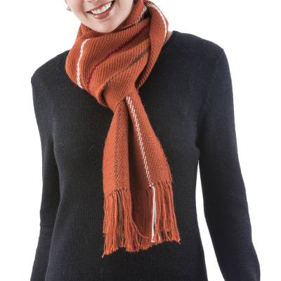 Alpaca scarf, 'Andean Cinnamon' - Alpaca Wool Blend Patterned Orange Scarf from Peru
