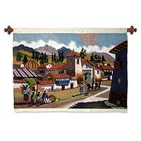 Wool tapestry, 'A Walk through Huancayo' - Handcrafted Wool Tapestry