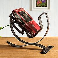 Steel book stand, 'Inca Wisdom'