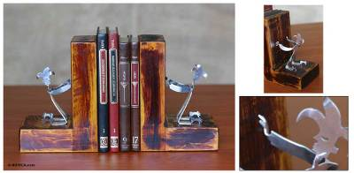 Recycled aluminum bookends, 'Harlequin' - Recycled aluminum bookends