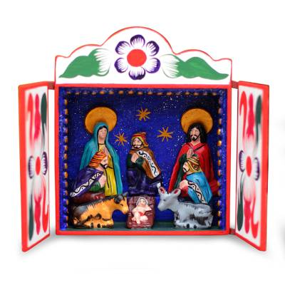 Retablo, 'Nativity Scene' - Christianity Wood Retablo Folk Art from the Andes