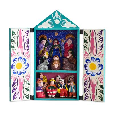 Retablo, 'Christmas in Quinua' - Ceramic Retablo Folk Art Religious Retablo Handmade in Peru