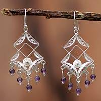 Amethyst chandelier earrings, 'Filigree Maze' - Fine Silver and Amethyst Filigree Earrings