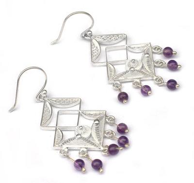 Amethyst chandelier earrings, 'Filigree Maze' - Fine Silver and Amethyst Filigree Earrings