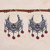 Carnelian filigree earrings, 'Dancing'