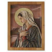 Cedar relief panel, 'Sweet Virgin Mary'