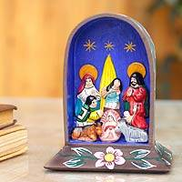 Ceramic retablo sculpture, 'Birth at the Grotto' - Christianity Wood Multicolor Folk Art Nativity Scene