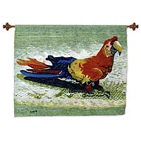 Wool tapestry, 'Happy Macaw' - Unique Wool Bird Handloomed Art Tapestry