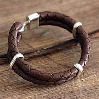 Men's braided leather bracelet, 'Desert Paths' - Leather Bracelet with Silver Cuffs for Men