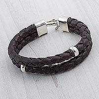Men's leather bracelet, 'Balance in Brown' - Men's Leather Sterling Silver Wristband Bracelet