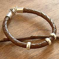 Men's leather bracelet, 'At Hand' - Men's Brown Leather Silver Bracelet from Peru