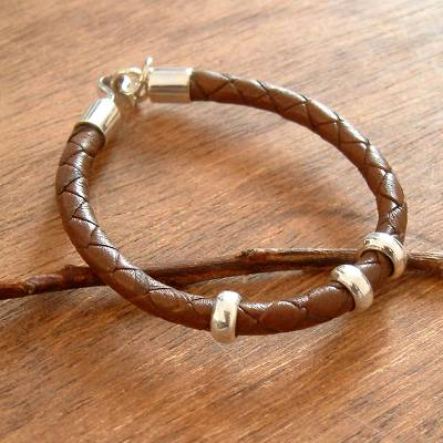 Men's leather bracelet, 'At Hand' - Men's Brown Leather Silver Bracelet from Peru