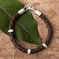 Men's leather braided bracelet, 'Bold Brown' - Handmade Men's Leather Braided Bracelet with Sterling Silver