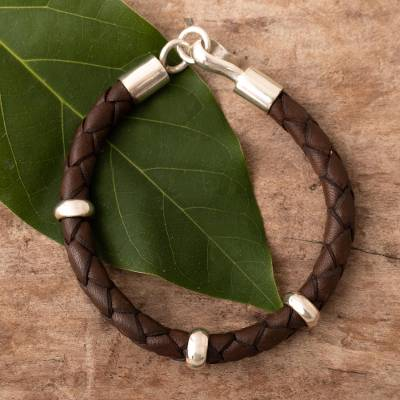 Men's leather braided bracelet, 'Bold Brown' - Handmade Men's Leather Bracelet with Sterling Accents