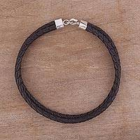 Leather necklace, 'Classic Brown'