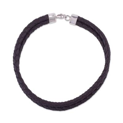 Leather necklace, 'Classic Brown' - Modern Choker-Style Leather Necklace