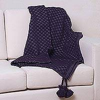 Alpaca blend throw blanket, 'Grape Combo' - Fair Trade Patterned Throw Blanket