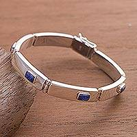Lapis lazuli wristband bracelet, 'Exuberance'