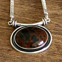 Novica Mahogany obsidian pendant necklace, Essence of Time