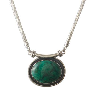 Sterling Silver Pendant Chrysocolla Necklace