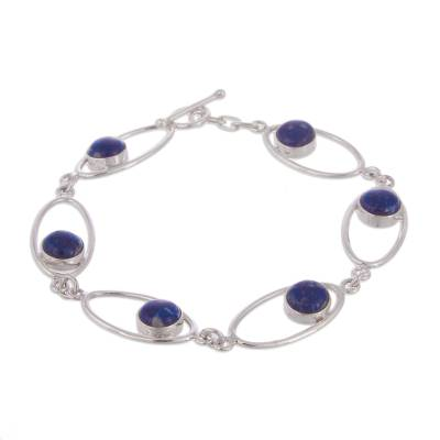 Lapis lazuli link bracelet, 'Orbits' - Hand Made Sterling Silver and Lapis Lazuli Bracelet