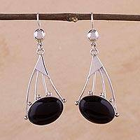 Obsidian dangle earrings, 'Inca Comets'