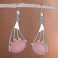 Opal dangle earrings, 'Inca Comets' - Rose quartz dangle earrings