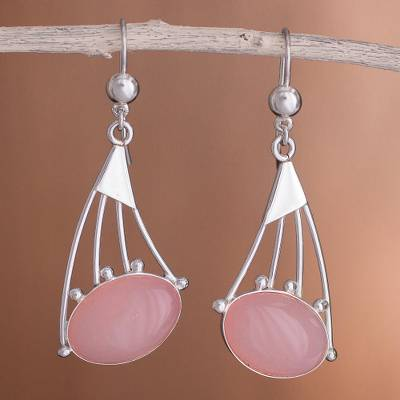 Opal dangle earrings, 'Inca Comets' - Rose quartz dangle earrings