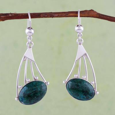 Chrysocolla dangle earrings, 'Inca Comets' - Sterling Silver and Chrysocolla Earrings