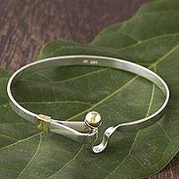 Sterling silver bangle bracelet, 'Gold Torch' - Bracelet 18k Gold and Sterling Silver Bangle