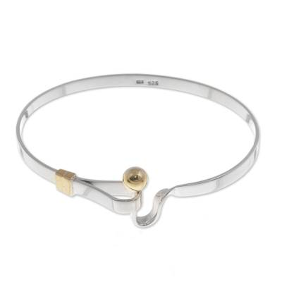 Sterling silver bangle bracelet, 'Gold Torch' - Bracelet 18k Gold and Sterling Silver Bangle