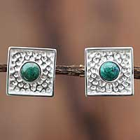 Chrysocolla clip-on earrings, 'Center of the Forest' - Chrysocolla clip-on earrings