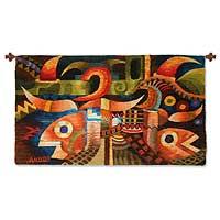 Wool tapestry, 'Abundance' - Wool tapestry
