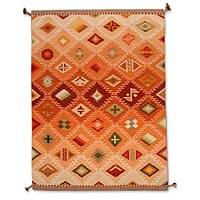 Wool rug, 'Many Masks' (6x8.5) - Hand Loomed Geometric Wool Area Rug (6x8.5)