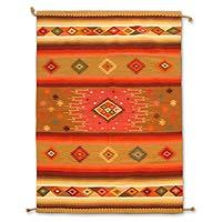 Wool rug, 'Dazzling Stars' (6x8.5)